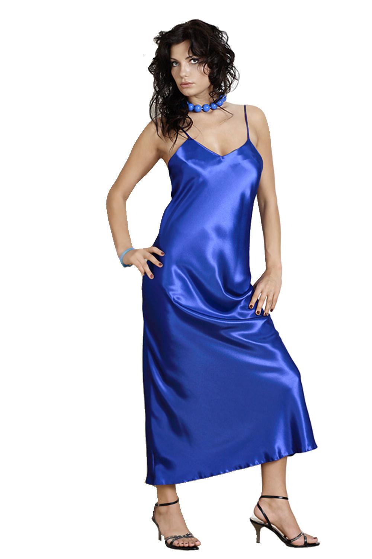 Saténová košilka Iga modrá