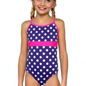 Plavky dívčí jednodílné Jolana bíle tečky