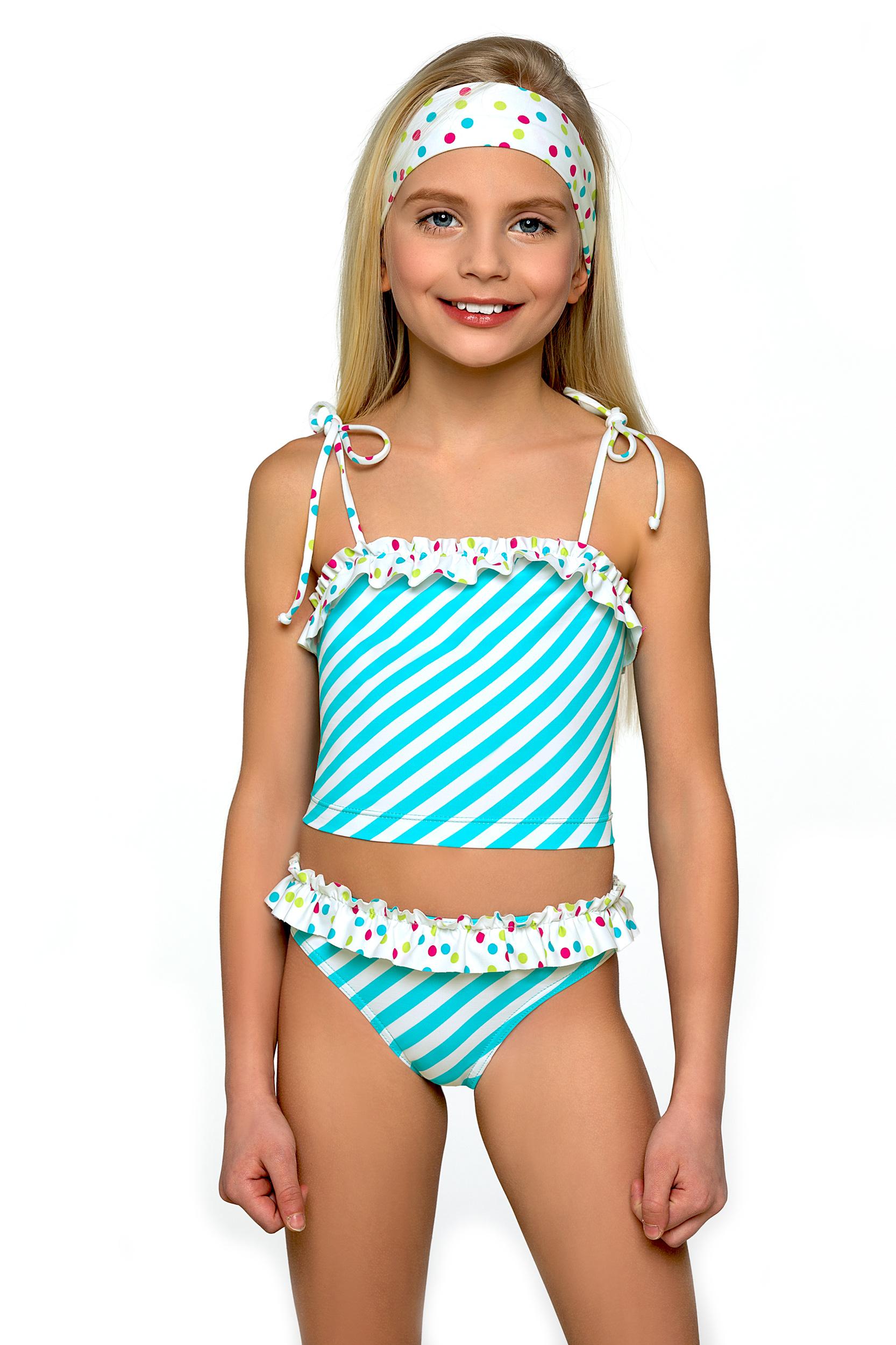 Plavky dívčí Adélka tyrkysovo bílé