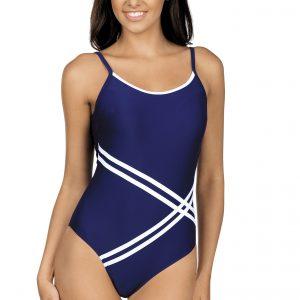 Dámské jednodílné plavky Stripes modré