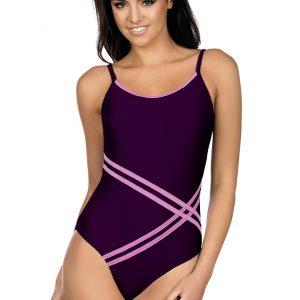 Dámské jednodílné plavky Stripes fialové