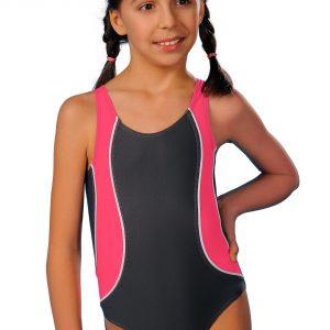 Dívčí jednodílné plavky Ala šedo růžové