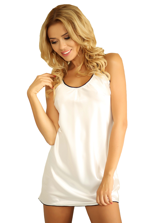 Saténová noční košilka Malaga bílá