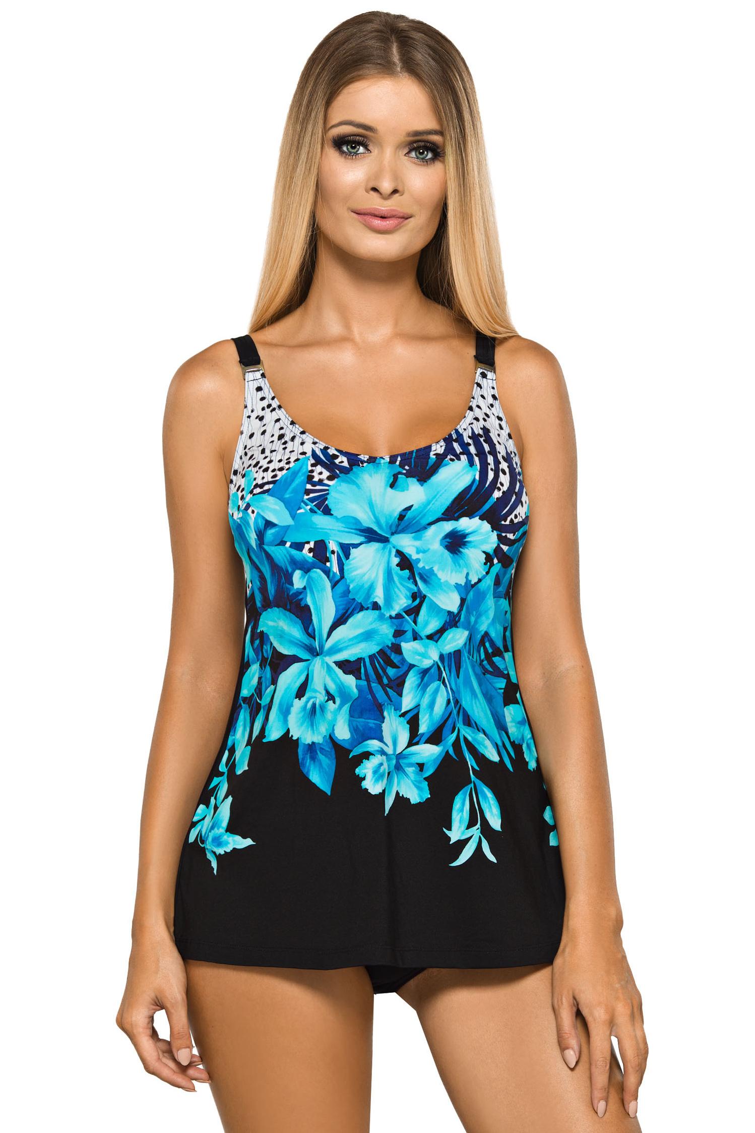 Dámské plavky tankiny Camilla černé s modrými květy