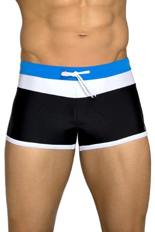 Pánské plavky boxerky Albert černé s modrým pasem