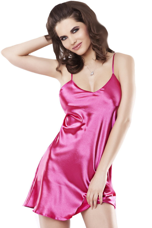 Saténová noční košilka Karen růžová