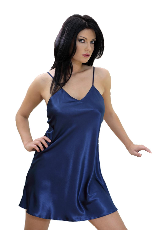 Saténová košilka Karen tmavě modrá