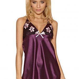 Saténová noční košilka Susan fialová