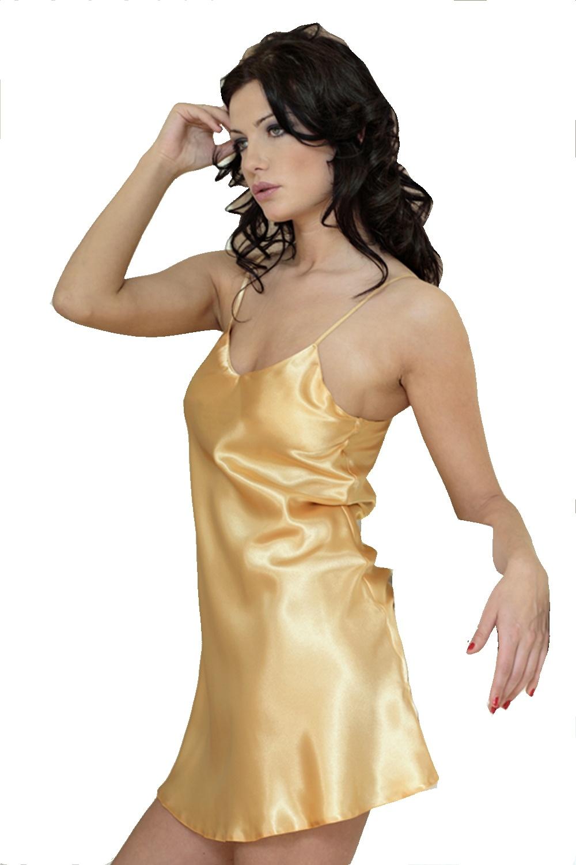 Saténová noční košilka Karen zlatá