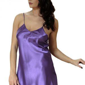 Saténová noční košilka Karen fialová