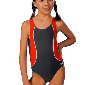 Plavky dívčí Otylie šedo červené