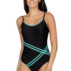 Dámské jednodílné plavky Stripes černé
