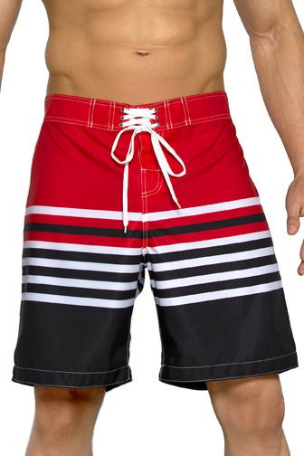 Plavkové bermudy Harry červeno-černé s  proužky