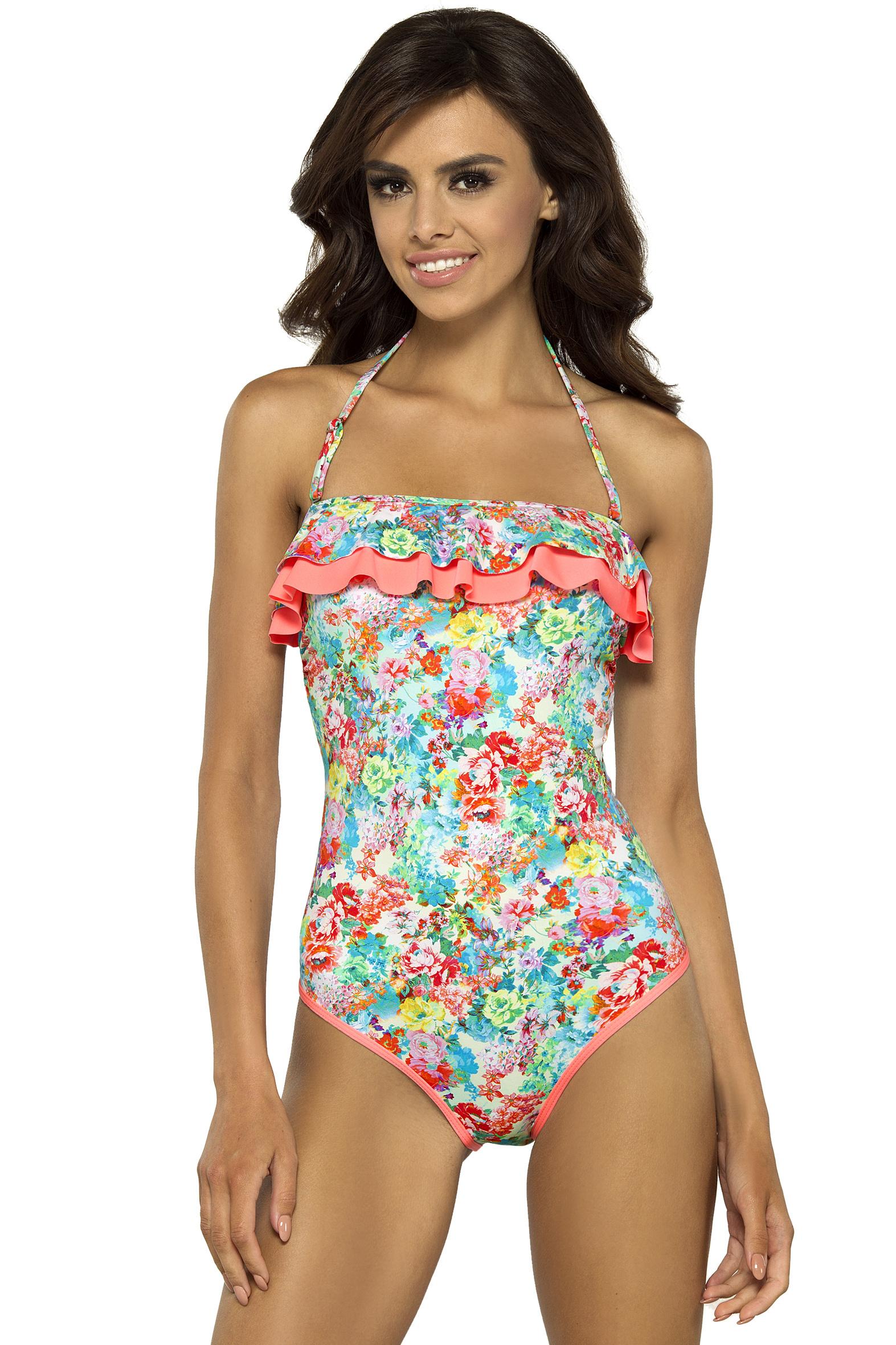 Jednodílné plavky Lilian s květy