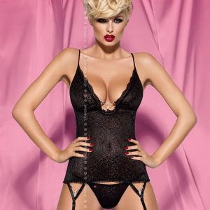 Korzet Diamond corset - Obsessive XXL Čierna-OBSESSIVE